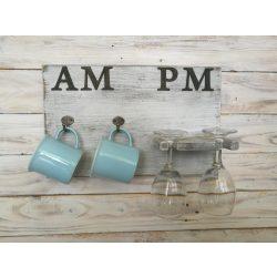AMPM fali pohártartó boros poharakkal és választható bögrékkel