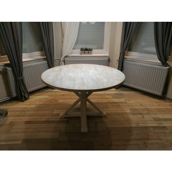 Ethel vintage kör alakú tömör fa étkezőasztal