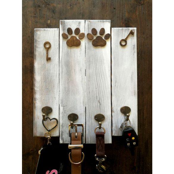 Kutyás fali kulcstartó vintage fehér, 4 akasztóval