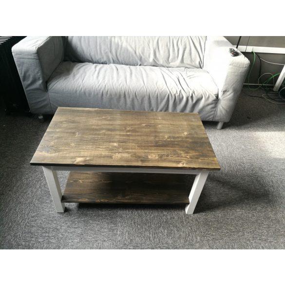 Denzel rusztikus tömör fa dohányzóasztal alsó polccal